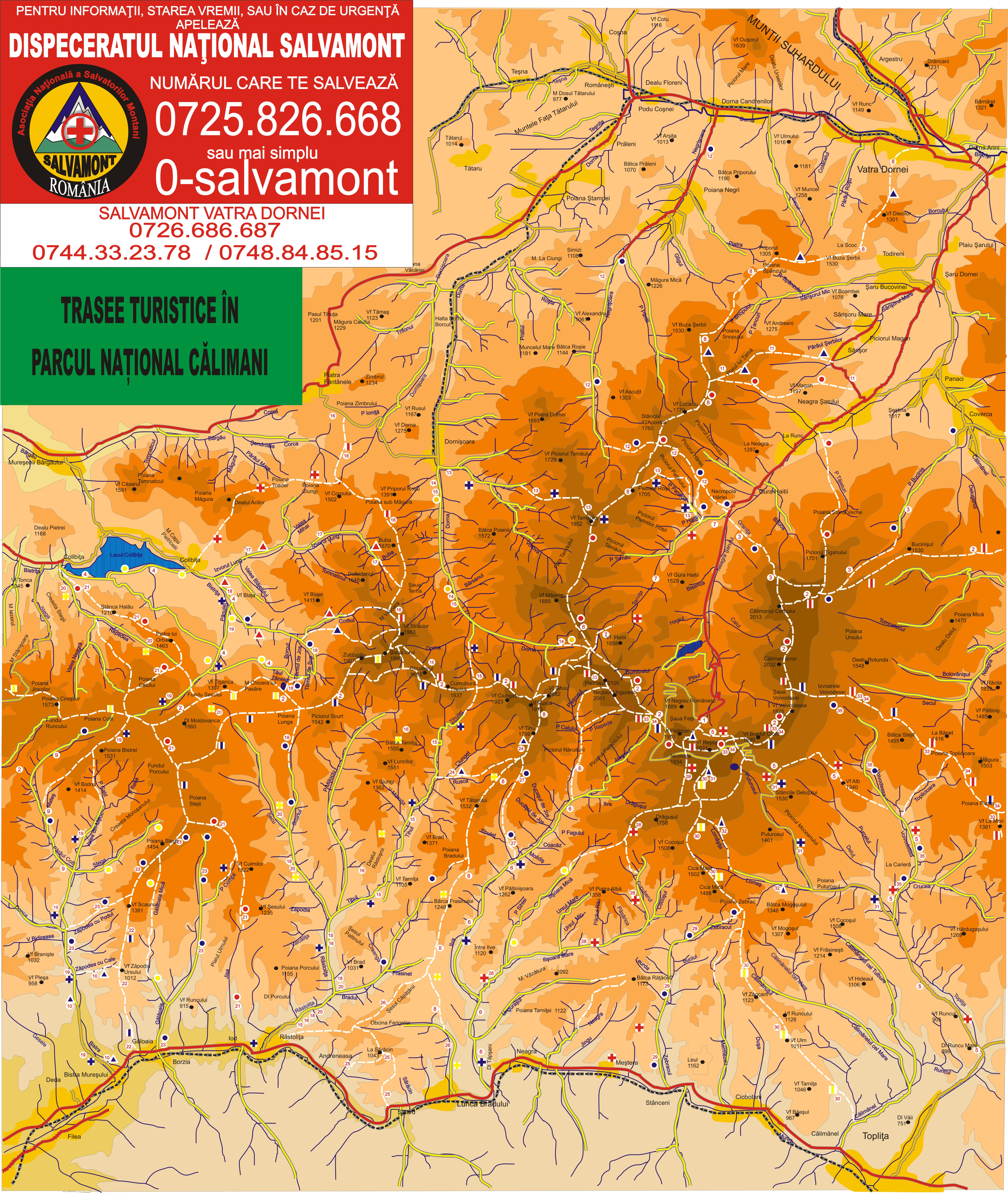 Harta Traseelor Turistice Montane Din Parcul Național Călimani